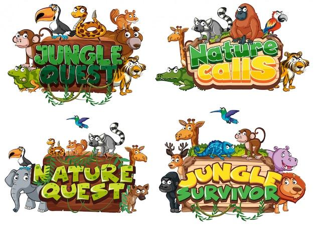 Lettertype voor woord gerelateerd aan de natuur met wilde dieren
