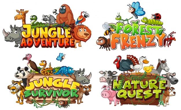 Lettertype voor woord gerelateerd aan jungle met wilde dieren