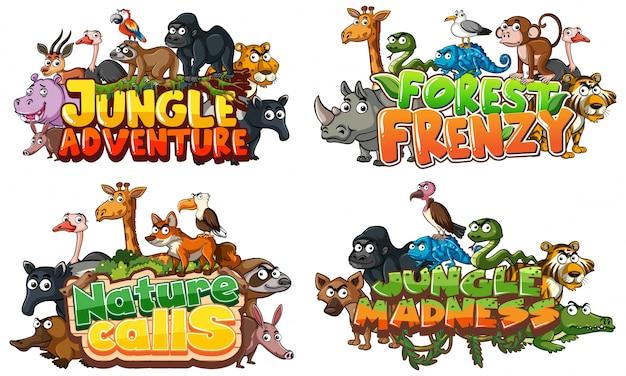 Lettertype voor woord in verband met jungle met wilde dieren op wit
