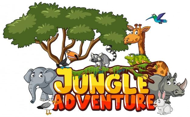 Lettertype voor woord jungle avontuur met dieren