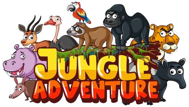 Lettertype voor woord jungle avontuur met wilde dieren