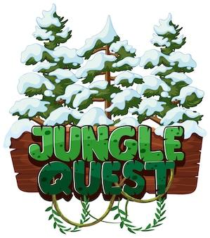 Lettertype voor woord jungle quest met sneeuw op de bomen