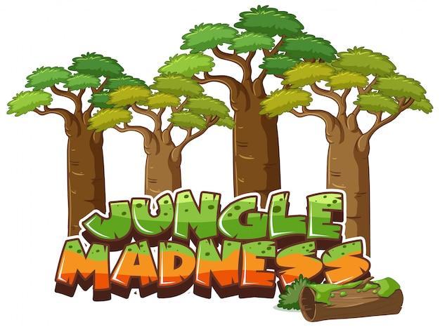 Lettertype voor woord jungle waanzin op wit