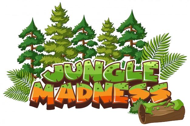 Lettertype voor woord jungle waanzin
