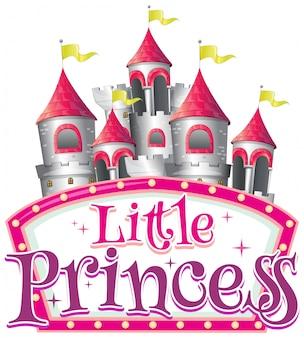 Lettertype voor woord kleine prinses met grote torens op witte achtergrond