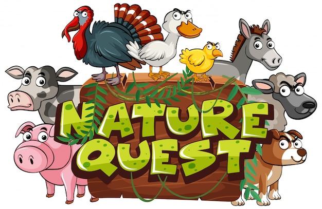 Lettertype voor woord natuur zoektocht met boerderijdieren