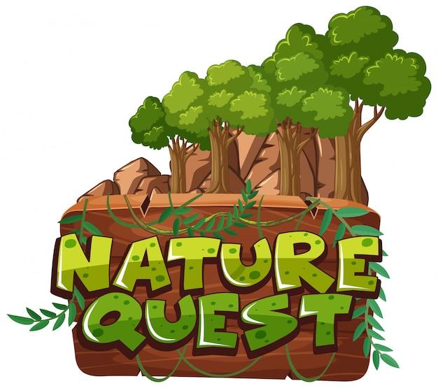 Lettertype voor woord natuur zoektocht met bomen