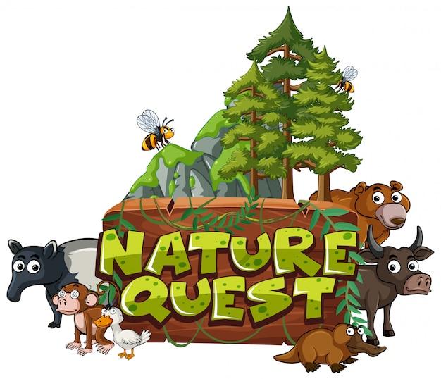 Lettertype voor woord natuur zoektocht met dieren in het bos