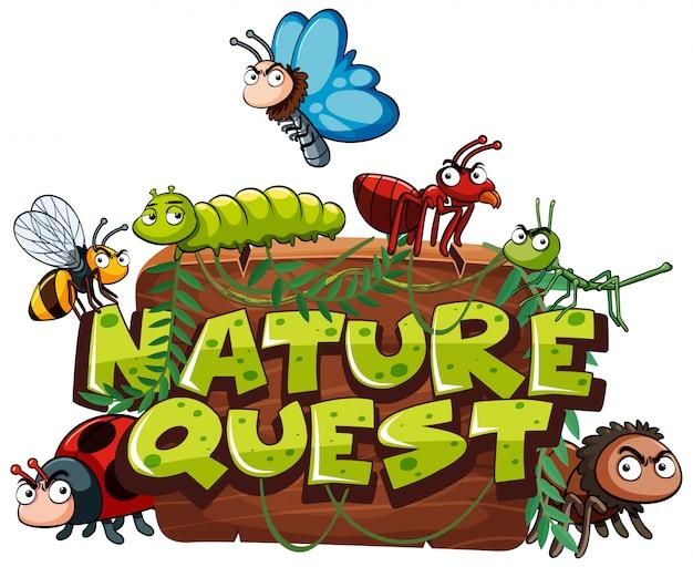 Lettertype voor word nature quest met veel bugs