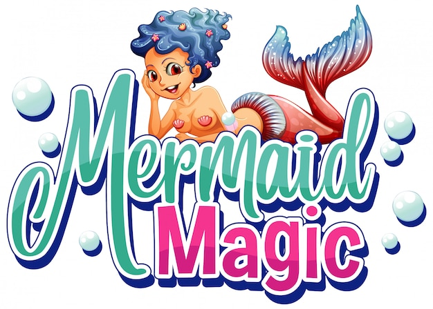 Lettertype voor zeemeermin magie met prachtige zeemeermin op witte achtergrond