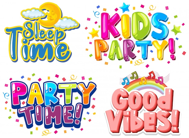 Lettertype voor zinnen met kleurrijke lettertypen op witte achtergrond