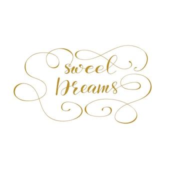 Lettertypen zoete dromen. vector illustratie.
