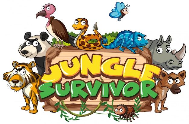 Lettertypeontwerp voor de overlevende van de woordjungle met wilde dieren op achtergrond