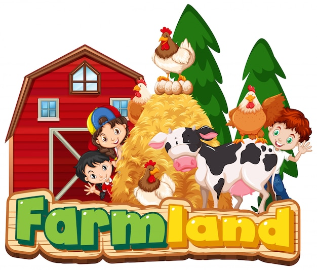 Lettertypeontwerp voor landbouwgrond met gelukkige kinderen en dieren