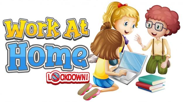 Lettertypeontwerp voor thuiswerken met kinderen die op de computer werken