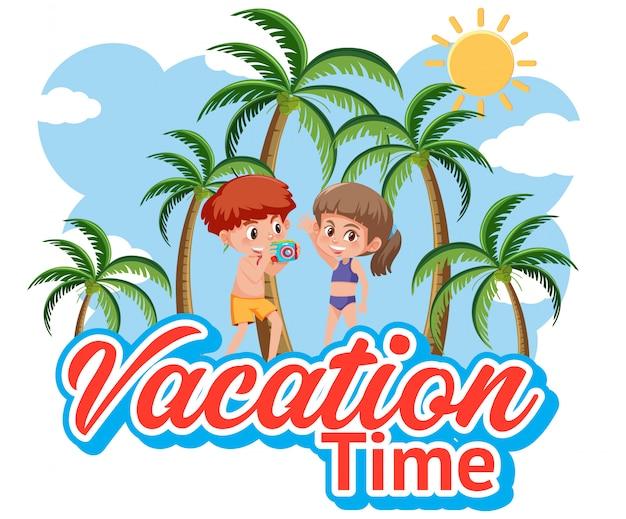 Lettertypeontwerp voor vakantietijd met gelukkige jongen en meisje