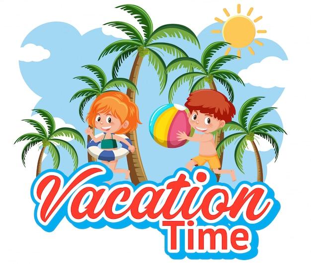 Lettertypeontwerp voor vakantietijd met spelende kinderen