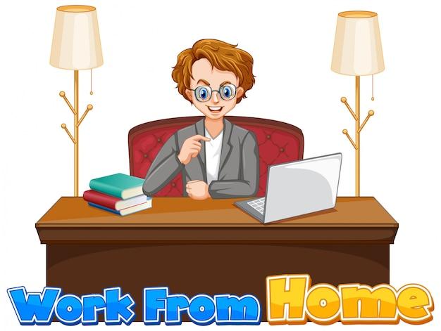 Lettertypeontwerp voor werk vanuit huis met man aan het werk op computer