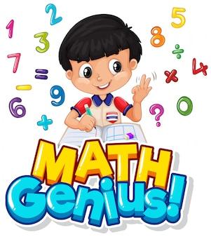 Lettertypeontwerp voor wiskundig genie met jongen en cijfers