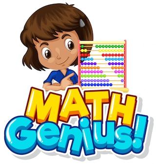 Lettertypeontwerp voor wiskundig genie met meisje en kralen tellen