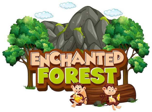 Lettertypeontwerp voor woord betoverd bos met apen in het bos