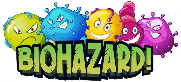 Lettertypeontwerp voor woord biohazard met viruscellen