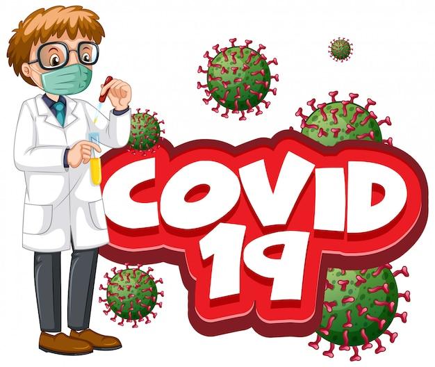 Lettertypeontwerp voor woord covid 19 en mannelijke arts