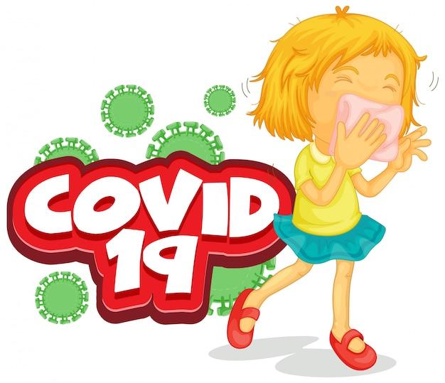 Lettertypeontwerp voor woord covid 19 met ziek meisje