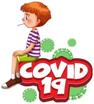 Lettertypeontwerp voor woord covid 19 met zieke jongen