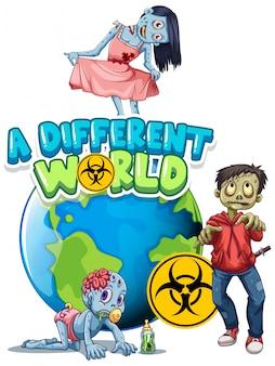 Lettertypeontwerp voor woord een andere wereld met zombies op aarde