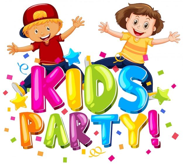 Lettertypeontwerp voor woord kinderfeest met gelukkige kinderen