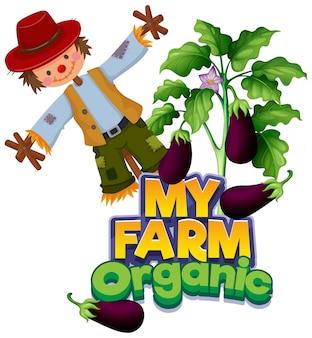 Lettertypeontwerp voor woord mijn boerderij met aubergines en vogelverschrikker