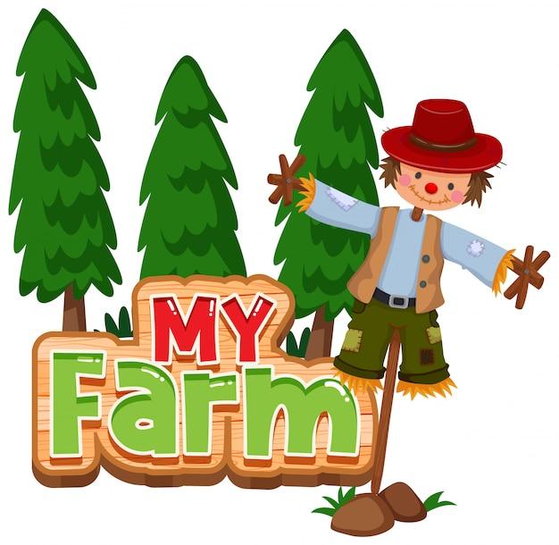 Lettertypeontwerp voor woord mijn boerderij met bomen en vogelverschrikker