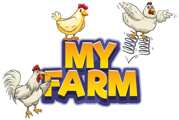 Lettertypeontwerp voor woord mijn boerderij met drie kippen