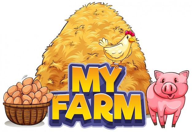 Lettertypeontwerp voor woord mijn boerderij met varken en kip