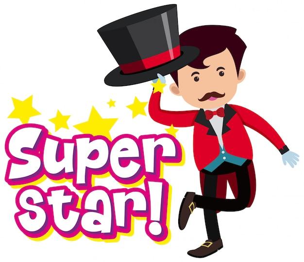 Lettertypeontwerp voor woord superster met goochelaar in rood pak