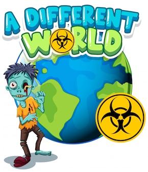 Lettertypeontwerp voor woord verschillende wereld met zombie op aarde