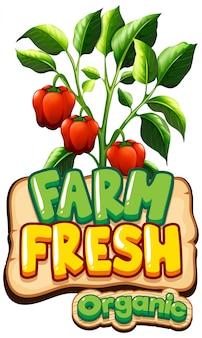 Lettertypeontwerp voor woord verse boerderij met rode paprika's