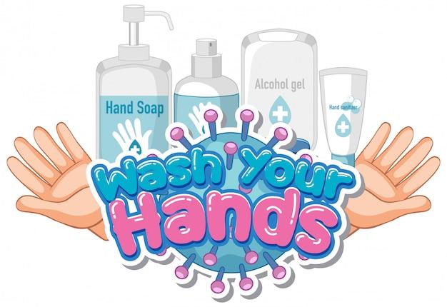 Lettertypeontwerp voor woord was je handen met zeep en schone handen