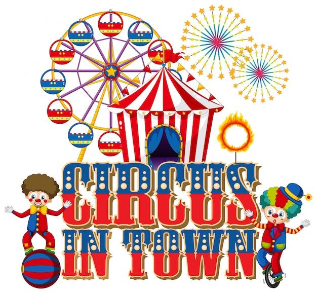 Lettertypeontwerp voor woordcircus in de stad met clowns in het circus