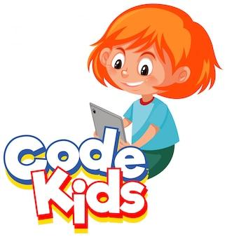 Lettertypeontwerp voor woordcode kinderen met meisje dat op de computer werkt