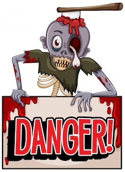 Lettertypeontwerp voor woordgevaar met zombie op witte achtergrond