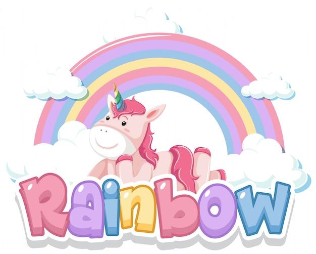 Lettertypeontwerp voor woordregenboog met regenboog op de hemelachtergrond