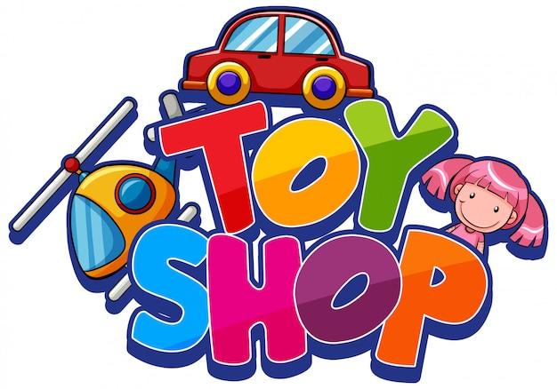 Lettertypeontwerp voor woordspeelgoedwinkel met veel speelgoed