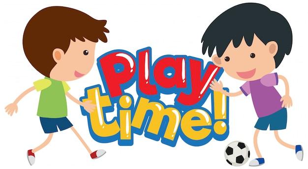 Lettertypeontwerp voor woordspeeltijd met gelukkige kinderen die spelen