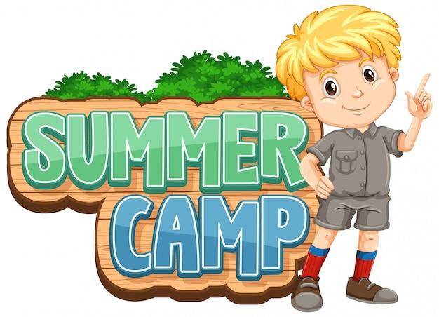 Lettertypeontwerp voor zomerkamp met schattige jongen in het park