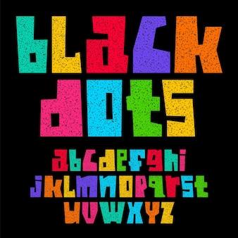 Lettertypepapier gesneden zwarte stippen, kleine letters