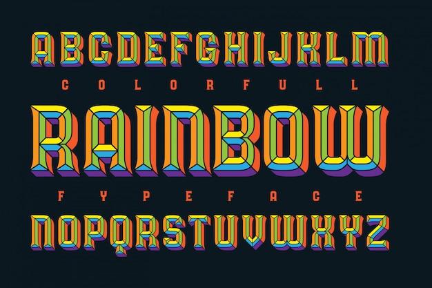 Lettertypeset met vet geëxtrudeerd effect