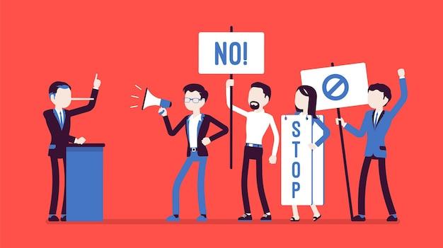 Leugenaar en mensen die protesteren