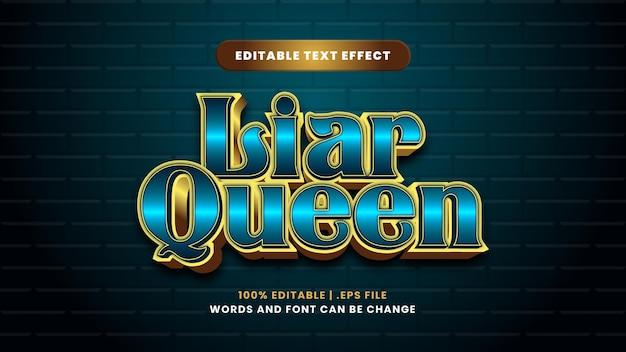 Leugenaar koningin bewerkbaar teksteffect in moderne 3d-stijl